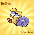 mr snail with kids vector image vector image