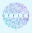 office concept in circle with thin line icons vector image vector image