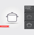 saucepan line icon with editable stroke vector image vector image