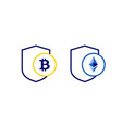 secure cryptocurrency payment bitcoin ethereum vector image