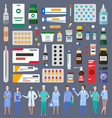 set various medications medicines pills vector image vector image