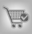 shopping cart with check mark sign pencil vector image vector image