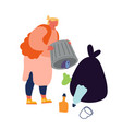 slovenly woman throw garbage out litter bin vector image vector image