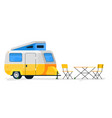 small camping trailer isolated camper vehicle vector image