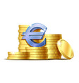 stacks gold coins and euro signs vector image