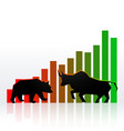 stock market concept design with bull and bear vector image vector image