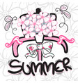 summer bicycle and flower basket vector image vector image