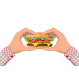 tasty burger isolated in hands vector image vector image