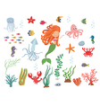 Underwater life collection vector image vector image