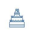 wedding cake line icon concept wedding cake flat vector image vector image