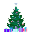 with Christmas Tree and gift boxes vector image vector image