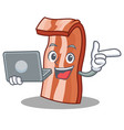 with laptop bacon character cartoon style vector image vector image
