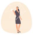 woman touching virtual screen vector image