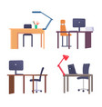 workplace tables collection vector image vector image