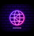 world global network icon neon color icon simple vector image vector image