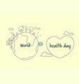 world health day banner with sketch earth vector image