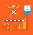world no smoking poster with two crossed cigarette vector image