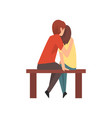 young man and woman sitting on bench and hugging vector image vector image