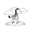 zebra cartoon in outdoor scene with clouds in vector image vector image