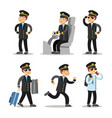 airplane pilot cartoon character set vector image