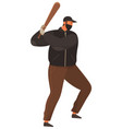 an aggressive man with a baseball bat isolated on vector image