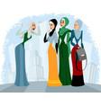 arab women talking outdoors vector image vector image