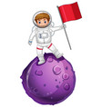 astronaut standing on a planet and holding flag