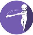 Baseball icon on round badge vector image vector image