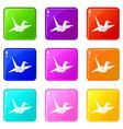 bird origami set 9 vector image vector image