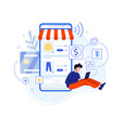 boy write review about purchase in internet shop vector image