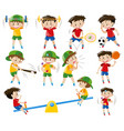boys doing different sports vector image vector image