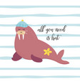 bright card with walrus in hat vector image vector image