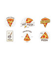 bundle colored logotypes with appetizing pizza vector image