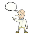 cartoon old man pointing with thought bubble vector image vector image