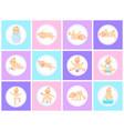 cartoon set with cute little babies in diaper vector image