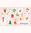 christmas and happy new year holiday stickers set vector image vector image