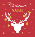 christmas sale white deer in the background of vector image vector image