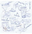 Contemporary Classics Cocktail Set on a notebook vector image vector image