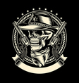 Cowboy Skull with Handguns vector image vector image