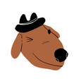 cute winking dog wearing a hat happy smiling vector image vector image