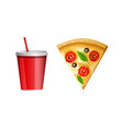 fast food icon piece of pizza and soda water cup vector image