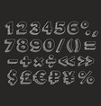 hand drawn alphabet numbers vector image