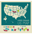 Hand drawn US map travel poster vector image