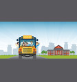 happy smiling kids riding on a yellow school bus vector image vector image