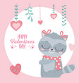 happy valentines day cute raccoon with bows scarf vector image vector image