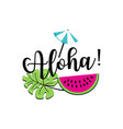inscription hello summer and watermelon slice vector image vector image