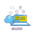 laptop technology with data center system vector image vector image