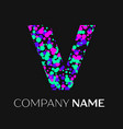 letter v logo with pink purple green particles vector image vector image