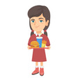 little caucasian girl holding tray with fast food vector image
