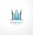 Logo design template with crown and pen vector image vector image